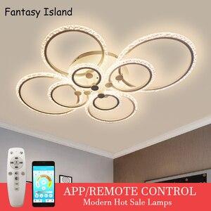 2020 новый современный светодиодный потолочный светильник с кольцами для кухни, гостиной, кабинета, спальни с регулируемой яркостью + пульт д...