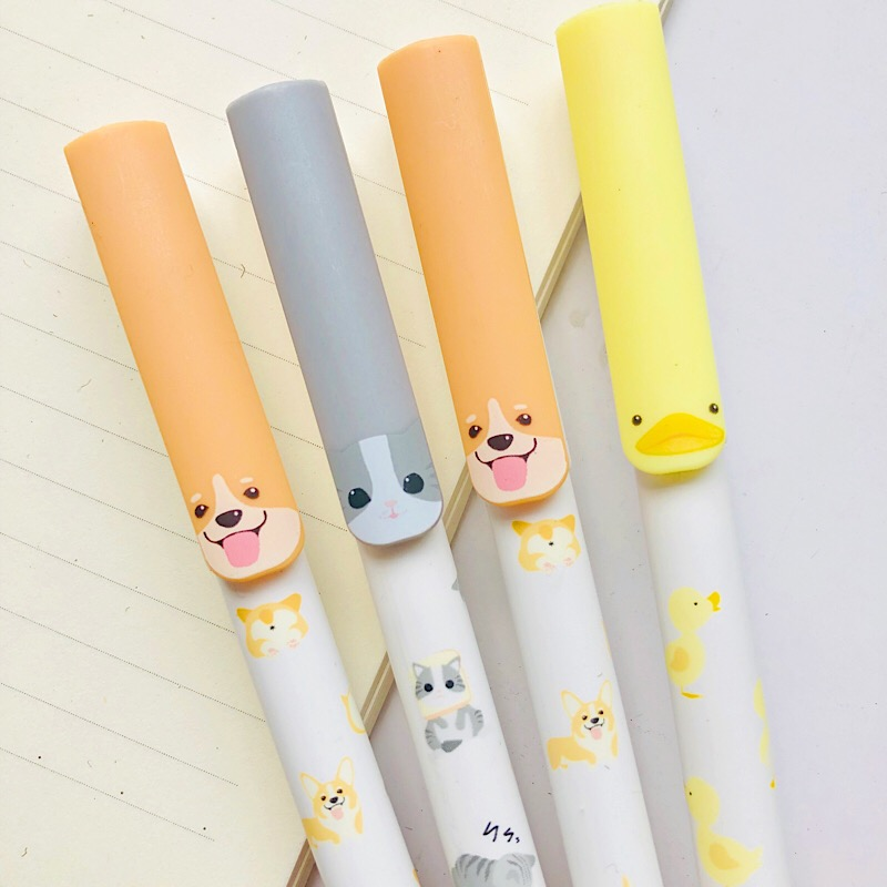 2X Kawaii Dog Cats Duck Gel Pen Rollerball Pen School Stationery 0.5mm Black Ink