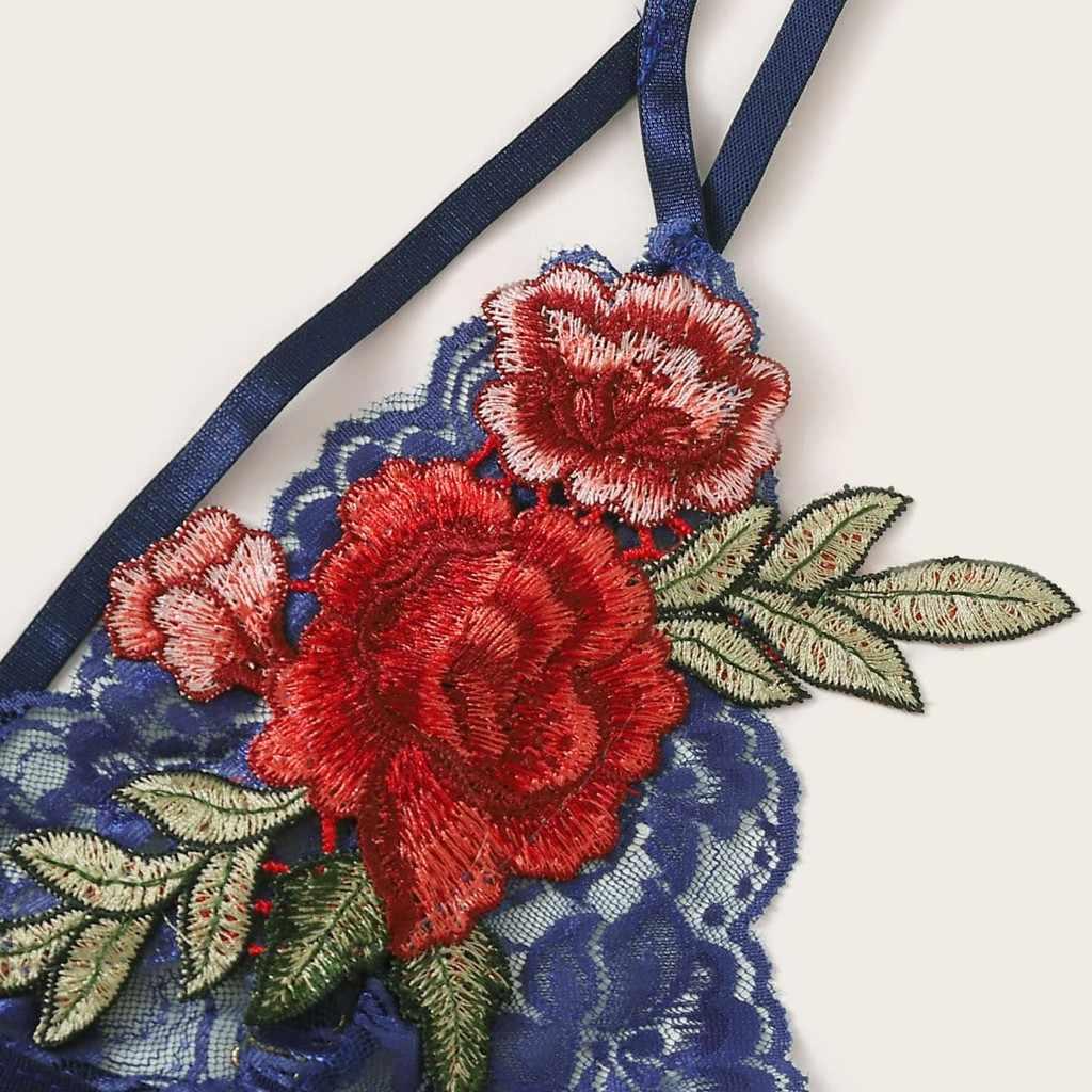 Nuevo sujetador azul de mujer Sexy Lencería bordado apliques Push Up Top sujetador ropa interior sin costuras suave Push Up Sujetadores Lenceria