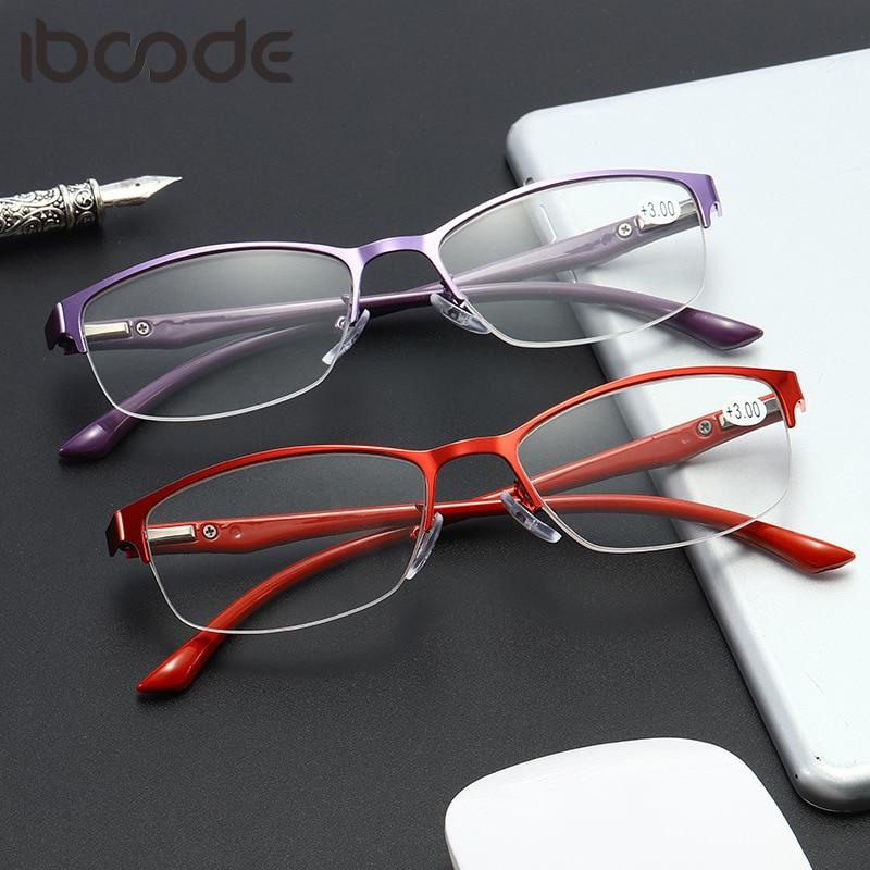 Iboode Reading Glasses TR90 Metal Half Frame Women Spring Leg Presbyopic Hyperopia Eyeglasses Reader Unisex Eyewear +1.0 To +4.0