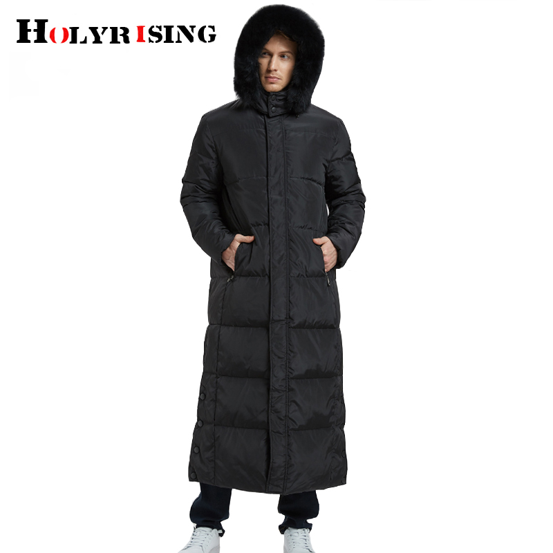Holyrising New X-long Men's Down Jacket 90% White Duck Down Coat Plus Size Over The Knee Russian Winter Coat Down -20C 18999-5