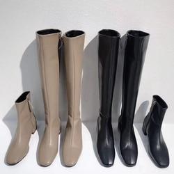 2019 Winter Dij Hoge Laarzen Vrouwen Knie Laarzen Zijrits Faux Leer Lange Laarzen