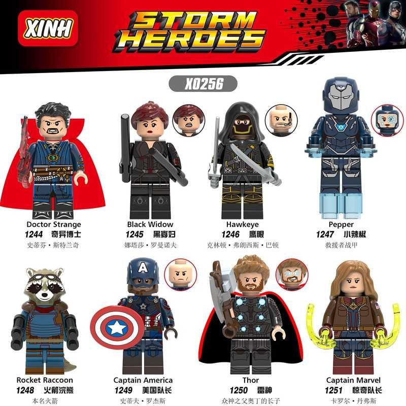 Captain Marvel Avengers 4 Angka Thanos Iron Man Thor Spiderman Hawkeye Kapten Amerika Blok Bangunan Playmobil Mainan Anak