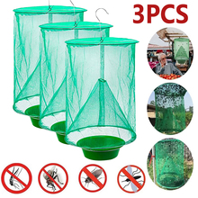 3Pcs Ranch Fly Trap with Bait Tray Reusable Flay Catcher Cage Outdoor Hanging Fly Trap for Indoor Outdoor Iron Wire