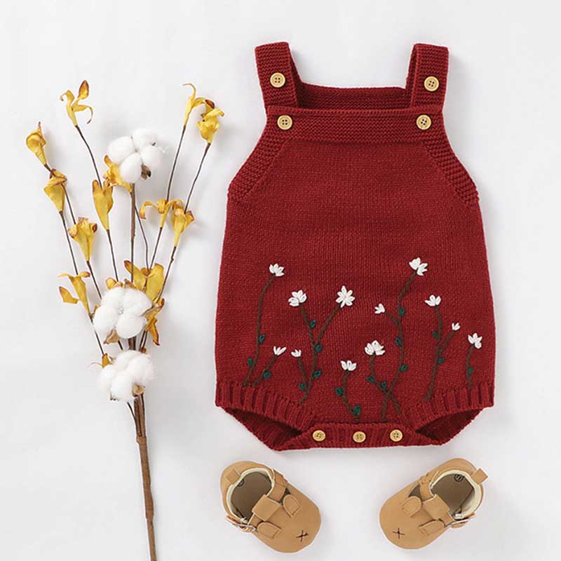 Autumn Baby Bodysuits Knitted Embroidery Sleeveless Jumpsuit Newborn Girl Sweater Toddler Kids Boys Knit Jumpsuit Baby Clothes 3
