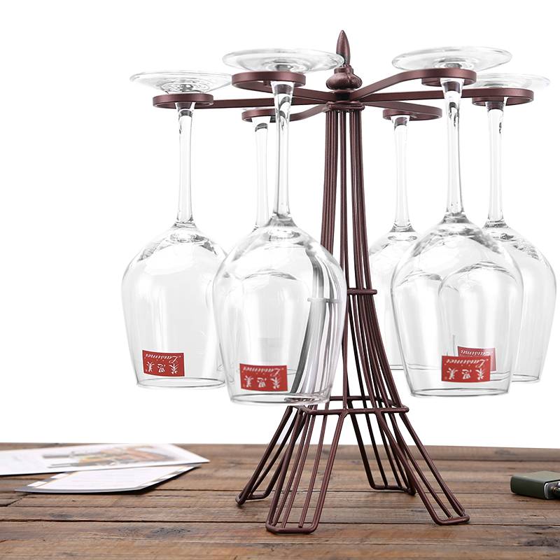countertop wine glass holder freestanding tabletop stemware storage rack metal glasses display rack with 6 hooks