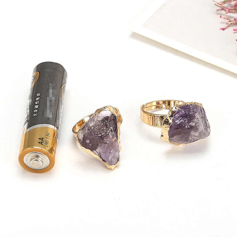 Jd 紫クォーツ調節可能なリング不規則な自然ラフ石クリスタルドルーゼンジュエリー女性なし指サイズ限定ゴールド色