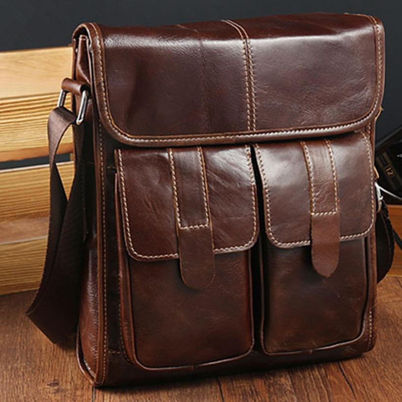 Design Men's Retro Genuine Leather Briefcase Satchel For Men Business Fashion Messenger Bag Retro Laptop Bags Cowhide Crossbody