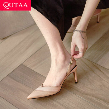 QUTAA 2020 Pointed Toe Back Strap Sandals Thin High Heel Hollow Women Shoes Quality Cow Leather Summer Ladies Pumps Size 34-39