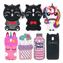 For Samsung Galaxy J3 J5 J7 Pro 2017 Case Soft Silicone Cover Cute 3D Cartoon Unicorn Cat For Samsung J330 J530 J730 Phone Cases