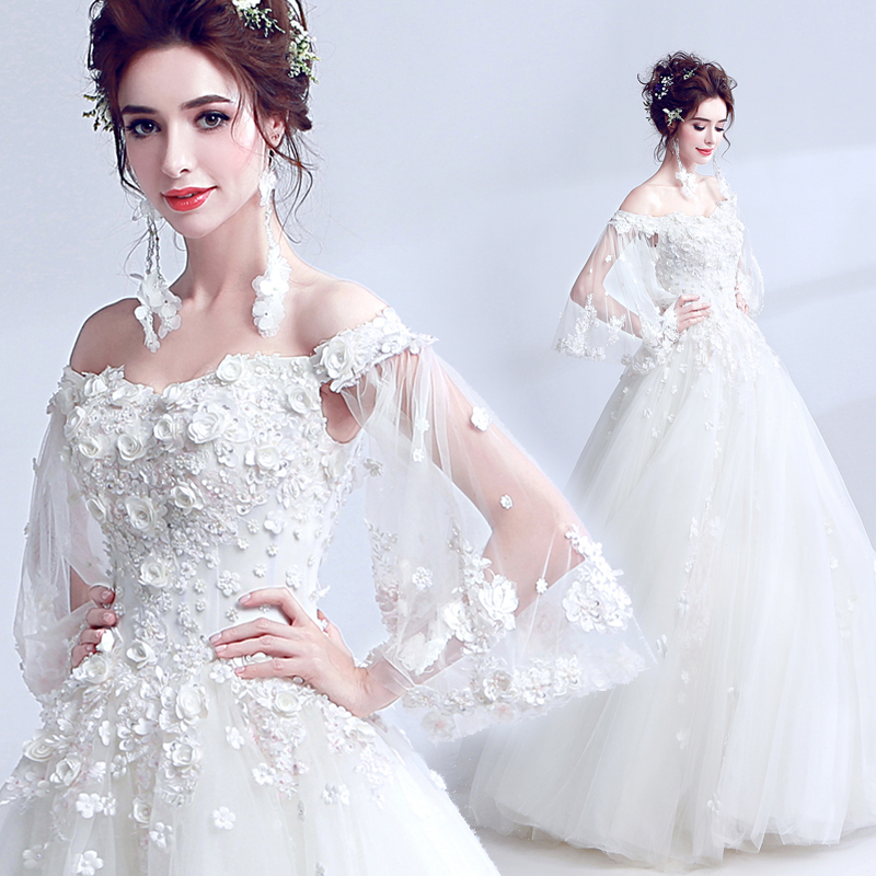 Clearance Sale Wedding Dress Romantic Lace Flower Boat Neck Floor-length Appliques Bride Married Wedding Gown Vestido De Novia