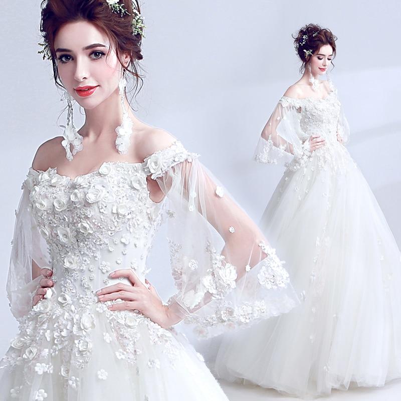Clearance Sale Wedding Dress Romantic Lace Flower Boat Neck Floor-length Appliques Bride Married Wedding Gown Vestido De Novia