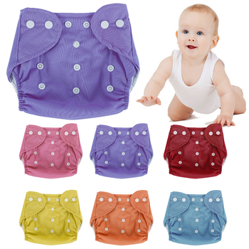 7pcs Baby Diapers Reusable Nappies Grid/Cotton Training Pants Cloth Diaper Baby Fraldas Winter Summer Panties Underwear Adjust