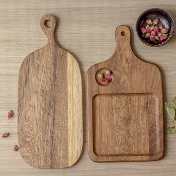 Tabla de cortar de madera de acacia para pizza, bandeja para hornear, picado de verduras de madera maciza, cocina, pizza