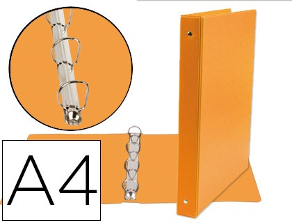 4 'S FOLDER RINGS 25 MM MIXED LIDERPAPEL A4 CARTON LINED PVC ORANGE