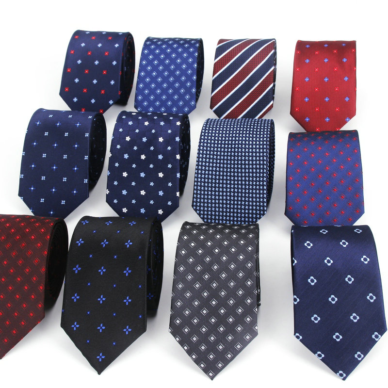Polyester Jacquard Ties For Men Dot Navy Neckties For Wedding Business Suits 6cm Skinny Wide Neck Ties Slim Gravatas Accessories
