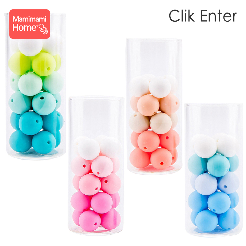 Mamihome 30pc Silicone Beads Baby Teether DIY Nursing Necklace Pacifier Chain Holder Food Grade Perle Silicone Children'S Goods