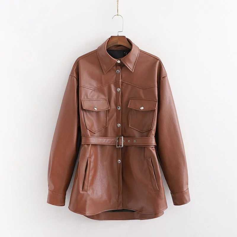 ZA autumn winter women's jacket brown PU leather vintage sashes outwear Casual chic lady coat female tops woman clothes