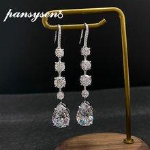 Женские серьги с муассанитом pansysen длинные висячие бриллиантами
