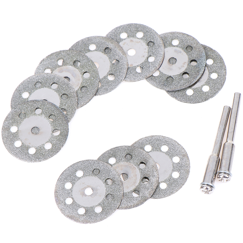 10pcs/set 25mm Mini Diamond Saw Blade Silver Cutting Discs With 2X Connecting Shank For Dremel Drill Fit Rotary Tool