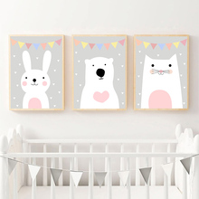 Cute Rabbit Bear Cat Canvas Print Wall Art Painting Cartoon Poster Nursery Prints Pictures Baby Kids Room Decor