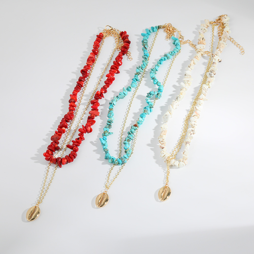 2019 Europe And America New Style Za Alloy Necklace Ethnic-Style Turquoise Double Layer Necklace Creative Shell Long Necklace