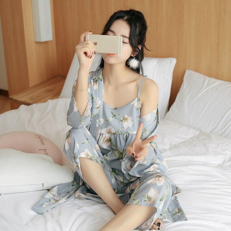 Spring Autumn Women Cotton Pajamas Set Flower Print Summer Thin Pyjama Long Robe+Pants+Vest 3 Piece/Set Sleepwear Pijama