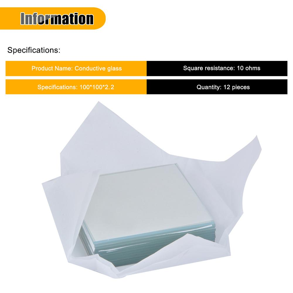 10*10*1.1mm 200 pcs Lab Transparent Conductive Indium Tin Oxide ITO Glass