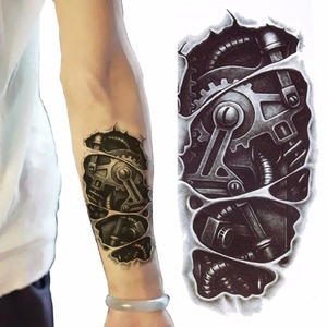 Temporary tattoos 3D black Robot mechanical arm fake transfer tattoo stickers hot sexy cool men spray waterproof designs(China)
