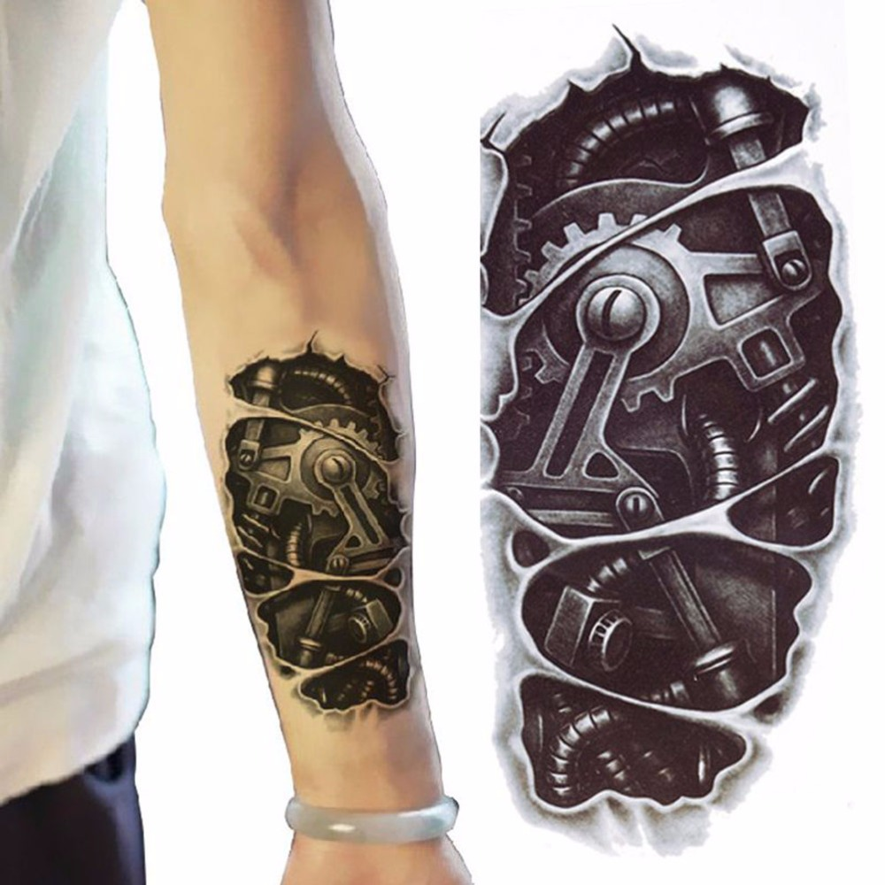 Temporary Tattoos 3D Black Robot Mechanical Arm Fake Transfer Tattoo Stickers Hot Sexy Cool Men Spray Waterproof Designs