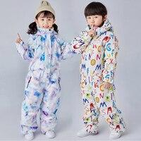 Waterproof Boys One Piece Ski Suit Hoodie Windproof Girl Jumpsuit Sport Snow Children Overalls Snowboarding Kids Outdoor Clothes