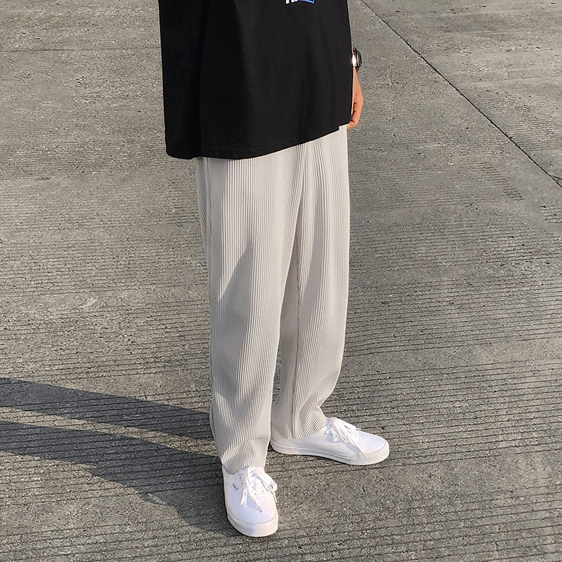 Плиссированные прямые брюки мужские модные повседневные штаны с эластичной резинкой на талии; Мужская Уличная свободные лед шелковые брюк...