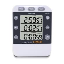 Digital Kitchen Cooking Timer Clock,3 Channels Simultaneous Timing Countdown Up