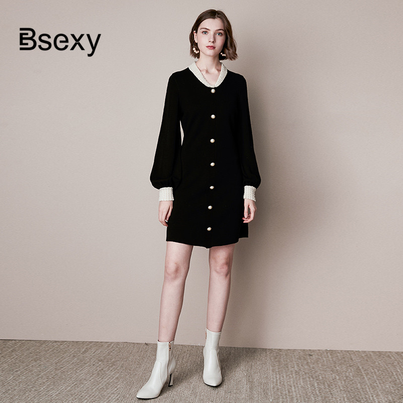 Cute Black Sweater Dress 2019 Autumn Winter SIngle Breasdted Turn Down Collar Pearls Beading Women Knitting Mini Dress image