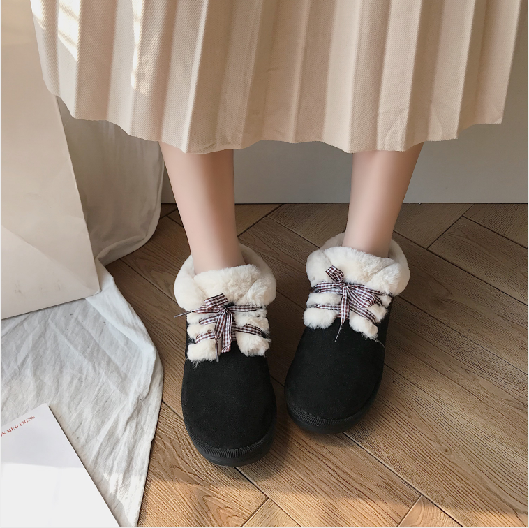 New Autumn Flat Keep Warm Ankle Boots Women Lace Up Short Plush Snow Boots Shoes Woman Winter Cotton Shoes Women Chaussure 2019 62