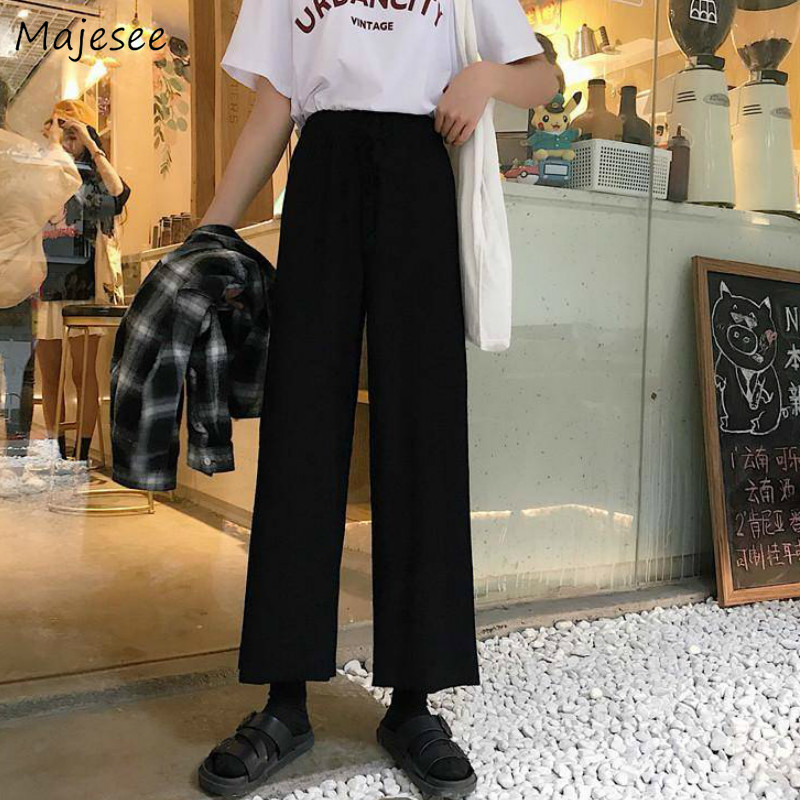 Pants Women Solid Basic Harajuku Popular Simple Streetwear Womens Trousers Stylish Loose Ankle Length Spring Summer Leisure Chic