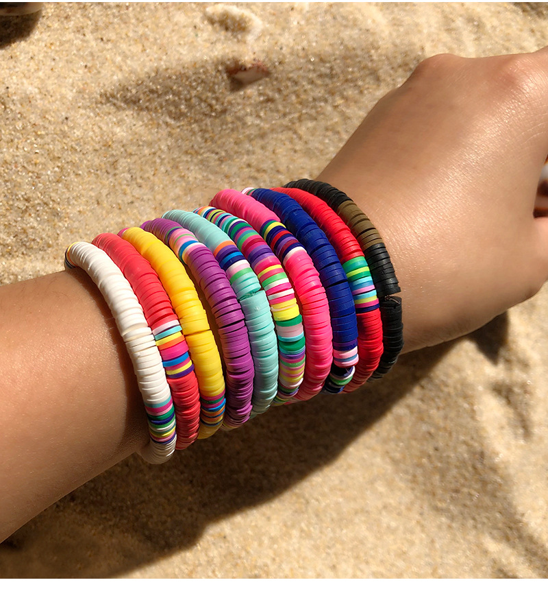 G.YCX Elastic Vinyl Discs Bead Summer Boho Bracelet Wome Men Elastic Heishi Bracelet Couple Friendship Summer Beach Jewelry
