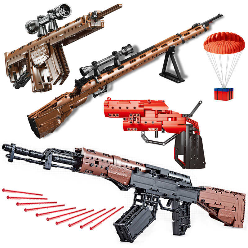 Compatible legoed PUBG Military technic signal gun 98k sets Bricks Weapons pack Armed SWAT submachine model Building Blocks ww2
