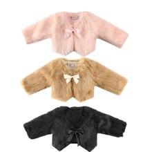 Новинка года; модное пальто для маленьких девочек теплая зимняя одежда с мехом бант для маленьких девочек с длинными рукавами; шерстяная одежда