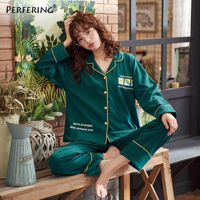 뜨거운 판매 2 조각 코 튼 여성 잠 옷 세트 긴 소매 셔츠 + 바지 잠 옷 인쇄 여성 Homewear Loungewear