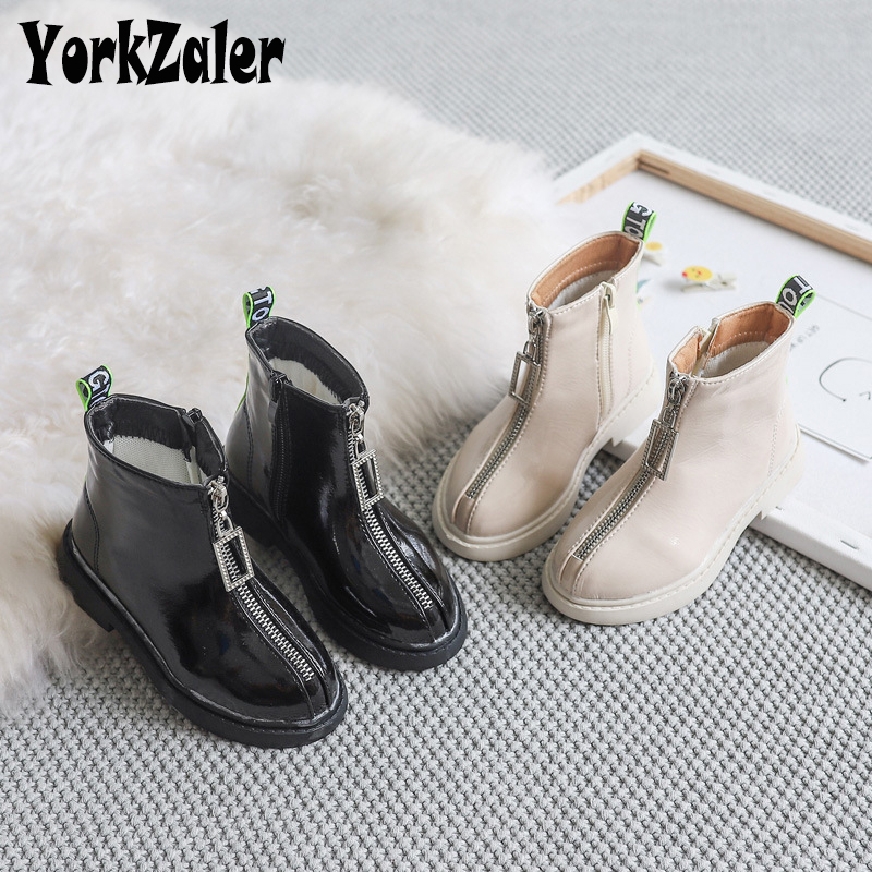 Yorkzaler Spring Autumn Fashion Kids Boots For Girls PU Leather Children Rain Martin Boots Winter Casual Teenager Shoes 26-36