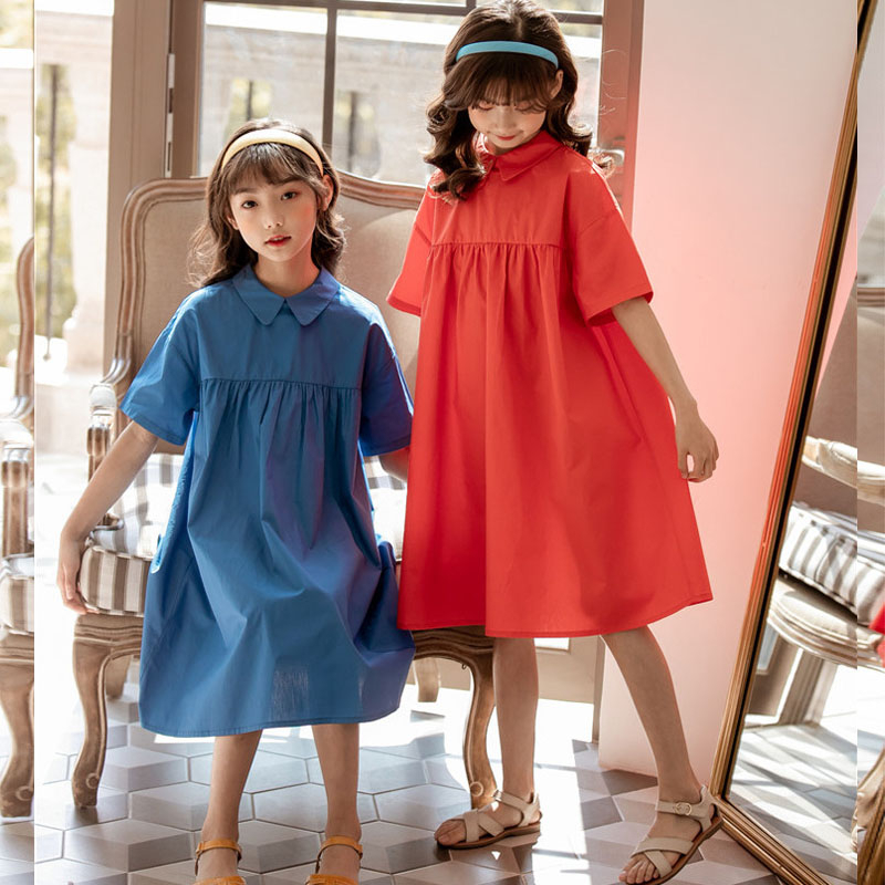 2020 New Mother And Daughter Dress Clothing 100% Cotton Big Girl Dress Summer Red Blue Teenage Children Dress Fashion Clothes