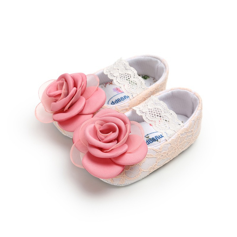 Toddler Infant First Walkers Princess Dress Shoes Baby Girls Shoes Flower Lace Flats Non-Slip Soft Sole 0-18 Monthes