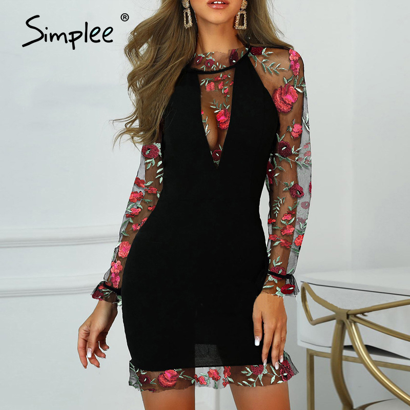Simplee Sexy Embroidery Women Party Dress Vintage Floral Printed Mesh Slim Female Bodycon Dress Long Sleeve Lady Club Midi Dress