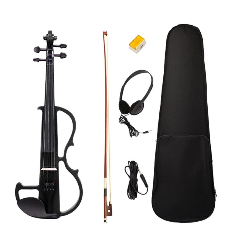 Beginner 4/4 Electric Violin Ebony Silent Violin Electric Violin Introductory Set