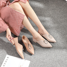 Women Flats Shoes Loafers Square Toe Autumn Casual Comfortable pointed low heel shoes Korean version of the painted lady
