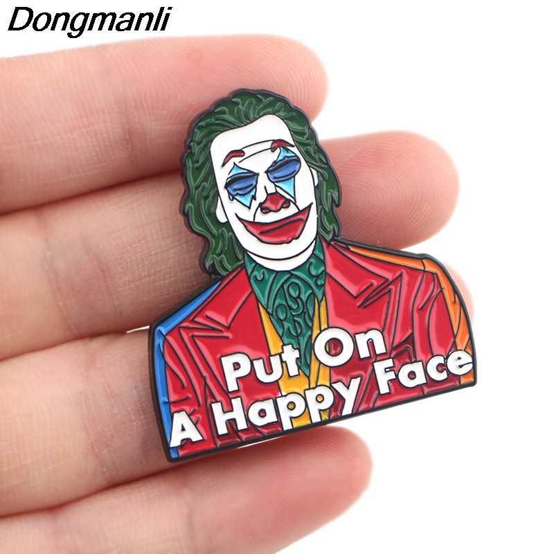 P4290 Dongmanli Joker Gioielli Film Divertente del Metallo Dello Smalto Spilli e Spille Risvolto Spille Distintivo Regali