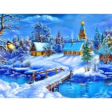 Diamond Landscape Pictures Of Rhinestones Embroidery Snow Winter Painting Cross Stitch Gift