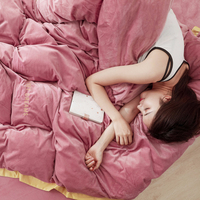 Winter Warm Fashion Solid Color Crystal Velvet Bedding Sets Super Soft Skin friendly Cozy Duvet Cover Sets Pillow Case Sheet