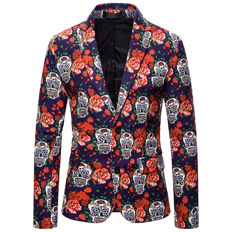 Brand Trendy Men's Blazer New Christmas Pattern Print Blazer Casual Men's Blazer Taro Rose Pattern Slim Party Suit Blazer Men